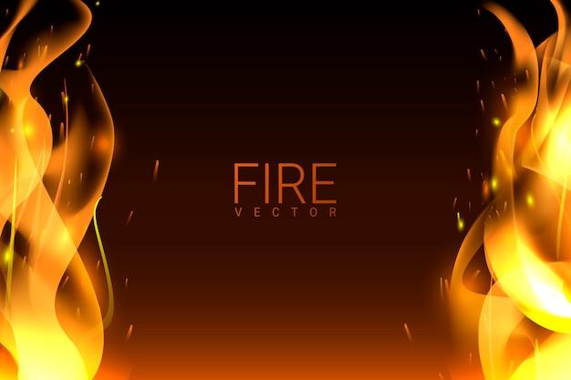 燃える火の背景 無料ベクター