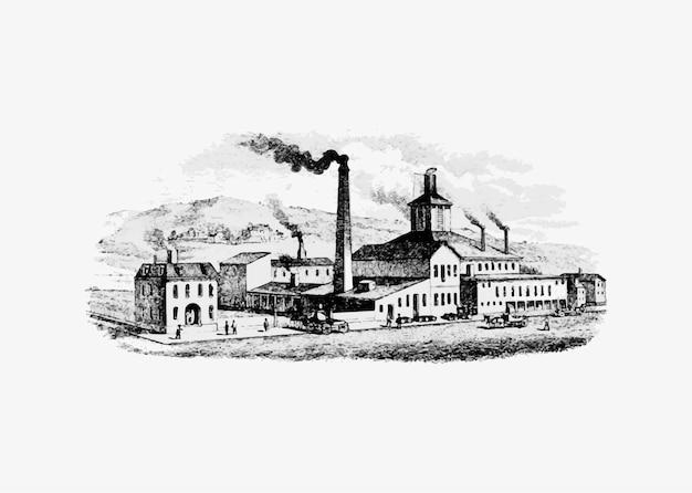 工業化時代の工場 無料ベクター