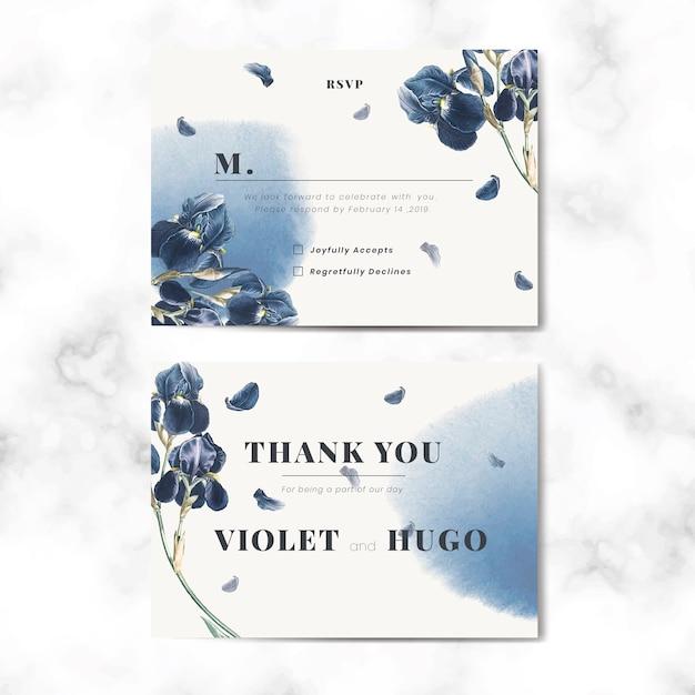 Цветочный свадебный пригласительный билет вектор Бесплатные векторы