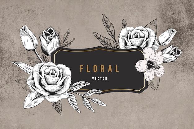 花のフレームの背景 無料ベクター