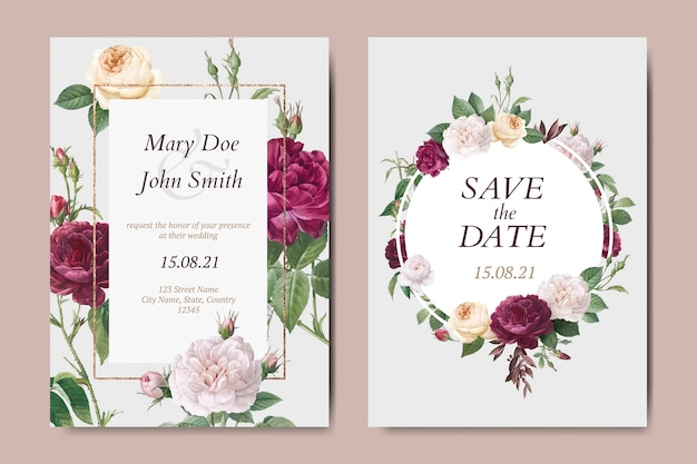 Набор цветочных свадебных пригласительных билетов векторов Бесплатные векторы
