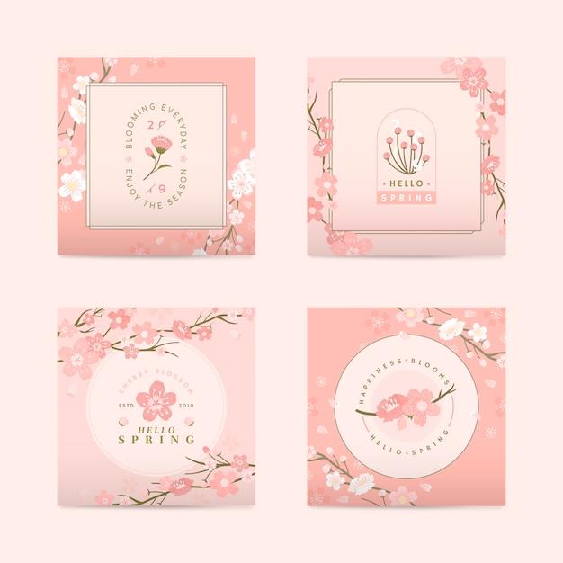 Привет весна, набор открыток Бесплатные векторы
