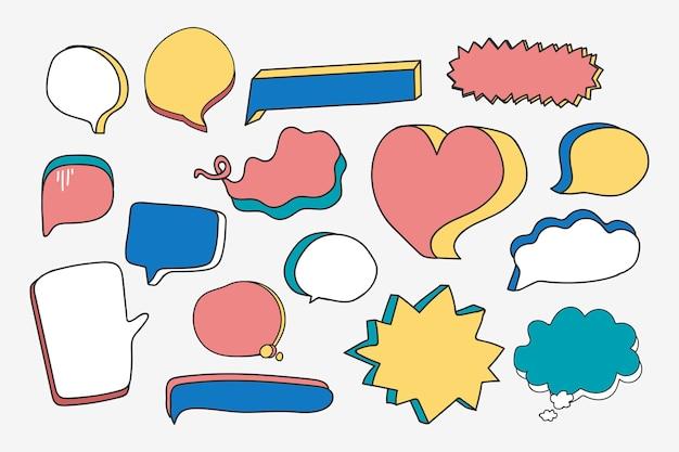 Пустой набор речи пузырь Бесплатные векторы