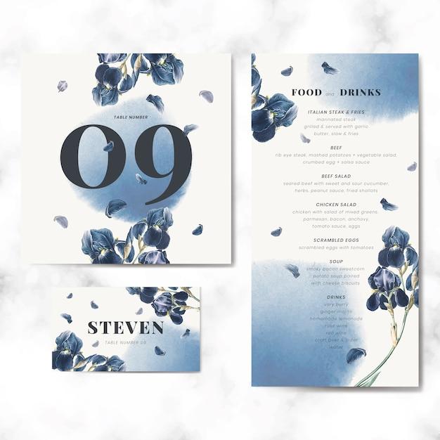 花の結婚式の招待カードテンプレートセットベクトル 無料ベクター