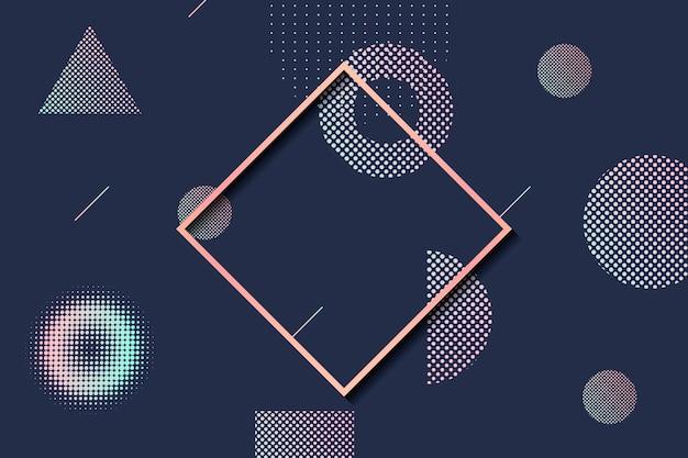 幾何学的形状ハーフトーンフレーム 無料ベクター