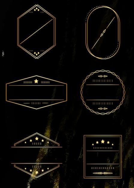 Золотые рамки установлены Бесплатные векторы
