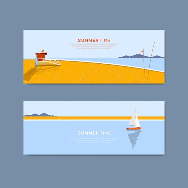 Набор шаблонов баннеров летний пляж Бесплатные векторы