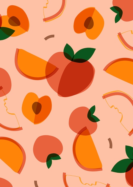 Персиковый фрукт в стиле мемфис Бесплатные векторы