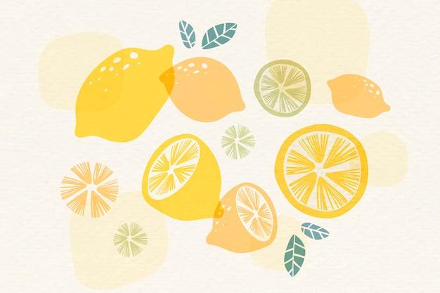 黄色いレモンの背景 無料ベクター