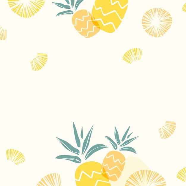 黄色のパイナップルの背景 無料ベクター