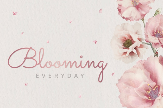 ピンクの咲く花 無料ベクター