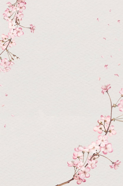 桜フレームカード 無料ベクター