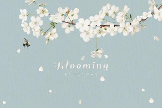 Цветущие белые цветы Бесплатные векторы