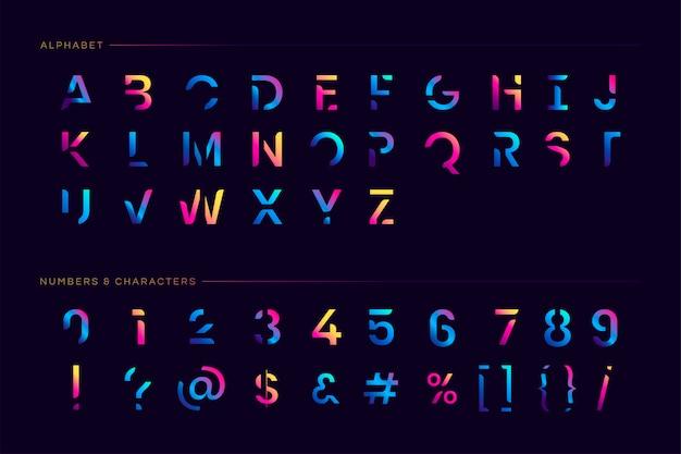 Модный футуристический набор букв Бесплатные векторы