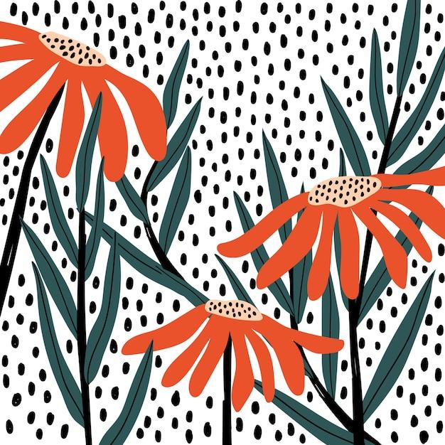 Ретро цветочный узор Бесплатные векторы