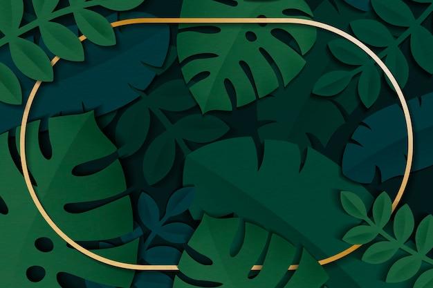 熱帯の葉のフレーム 無料ベクター