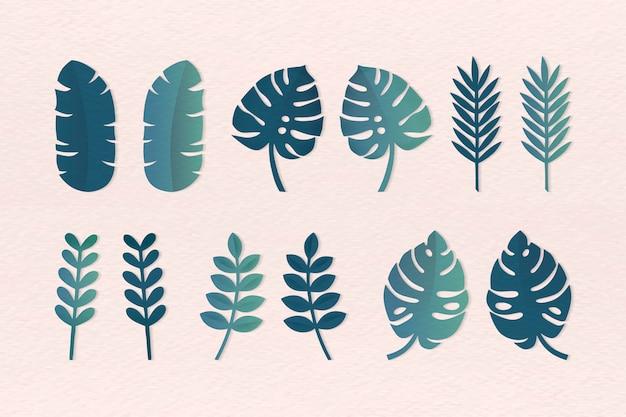 Различные тропические листья Бесплатные векторы