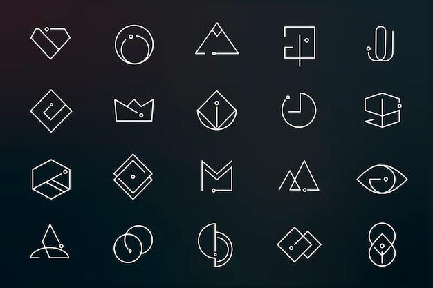 最小限のロゴデザインセット 無料ベクター