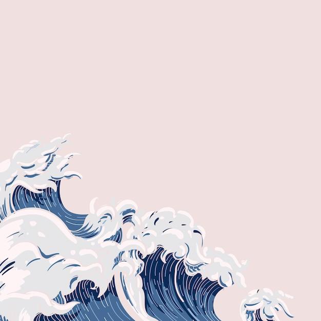 日本の波落書き 無料ベクター