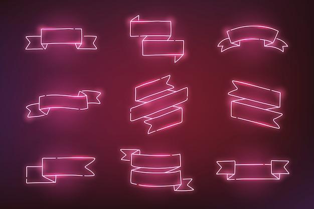 ピンクのネオンバナー 無料ベクター