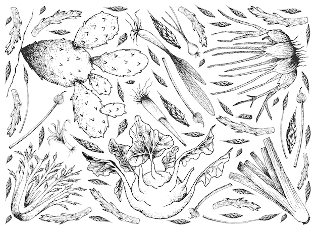 球根と茎野菜の背景を描いた手紙 Premiumベクター