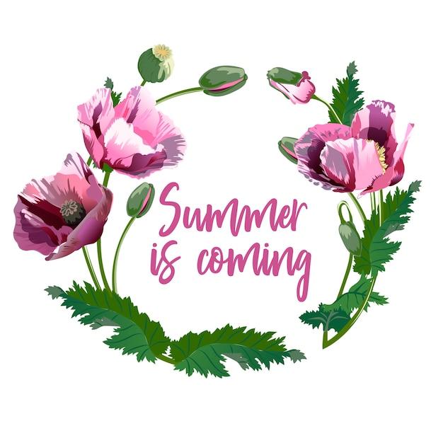 春の花の花輪 - ポスター、招待状、バナー Premiumベクター