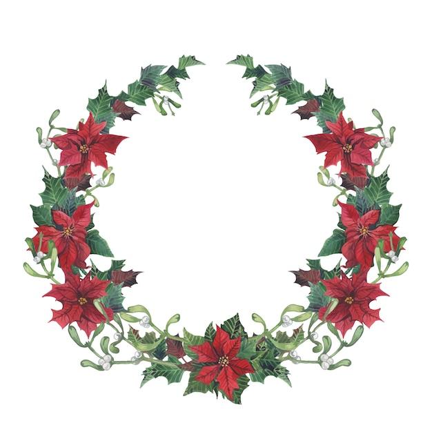 ホーリーと水彩クリスマスの花輪 Premiumベクター