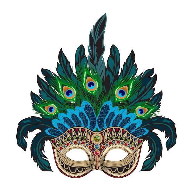 カラフルな羽毛のヴェネツィアのカーニバルマスク Premiumベクター