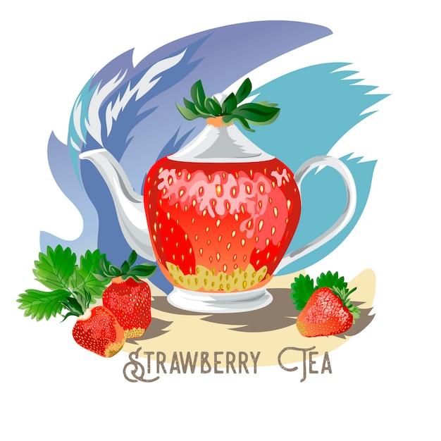 Клубничный чай Premium векторы