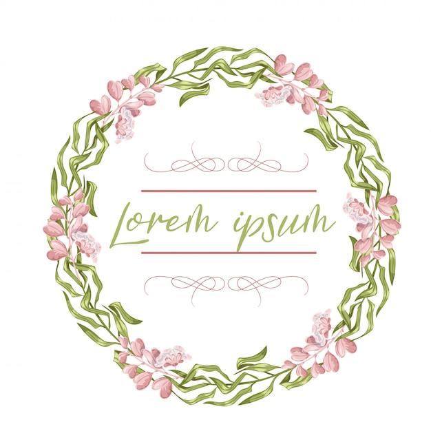 花輪、花のフレーム、水彩画の花、牡丹とバラ、イラスト手描き。白い背景に分離されました。 Premiumベクター