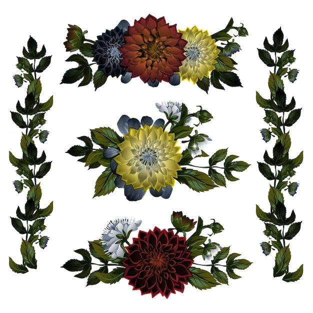 ゴージャスなブーケや赤とピンクの野生の咲く花と開花植物の分離のコレクション Premiumベクター
