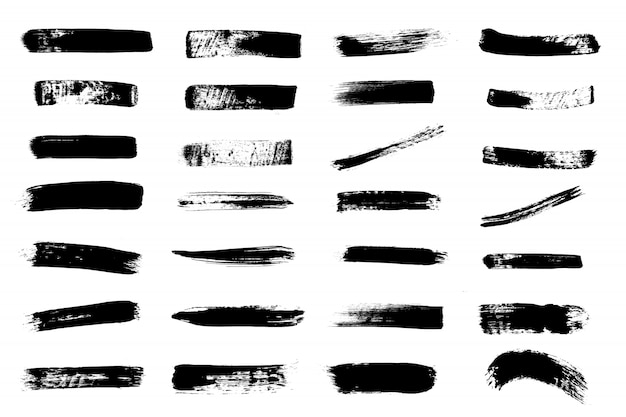 グランジ手描きペイントブラシストライプ。ベクトル黒インク背景高詳細。 Premiumベクター