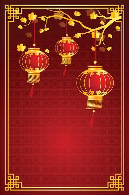 中国のランタンテンプレート Premiumベクター