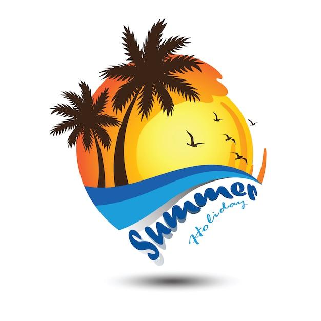 夏のロゴ Premiumベクター