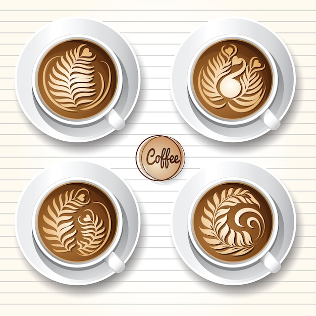 カフェラテアートコーヒー Premiumベクター