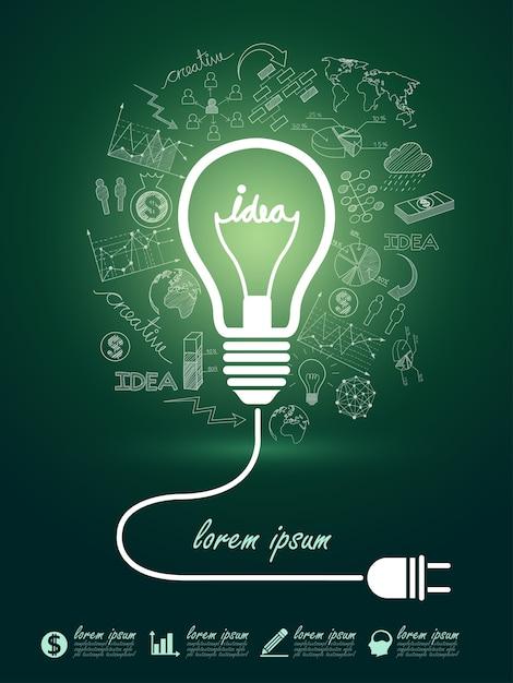 Идеи лампочки Premium векторы