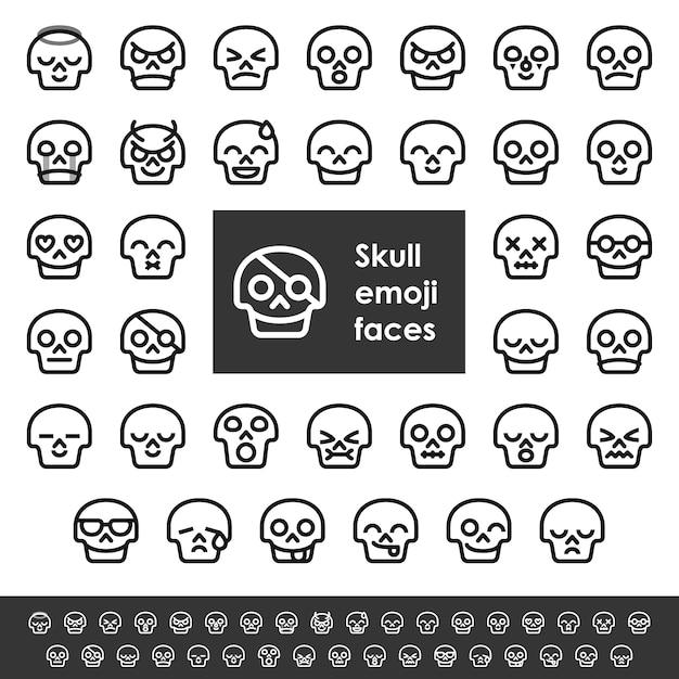 ラインの頭蓋骨の顔文字顔 Premiumベクター