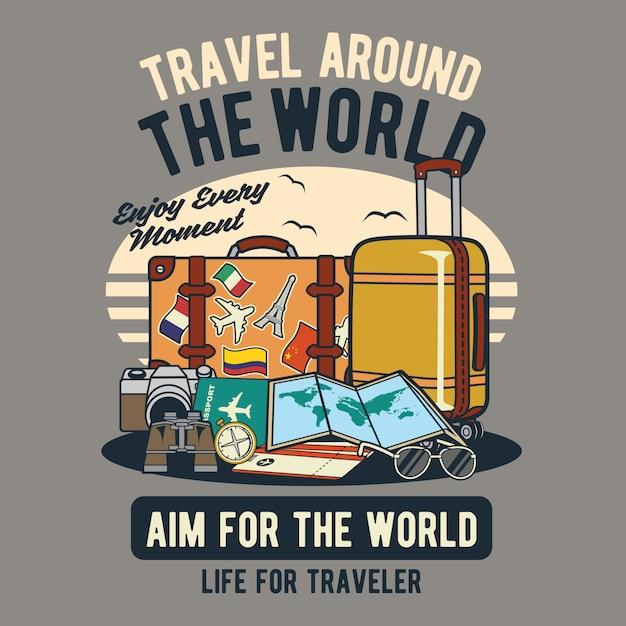 世界中を旅する Premiumベクター