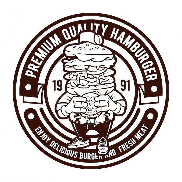 ハンバーガーバッジのロゴ Premiumベクター
