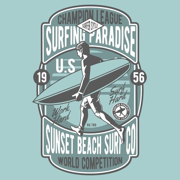 サーフィンの楽園 Premiumベクター
