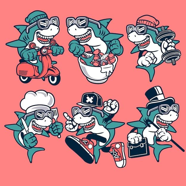 サメの漫画のキャラクター Premiumベクター
