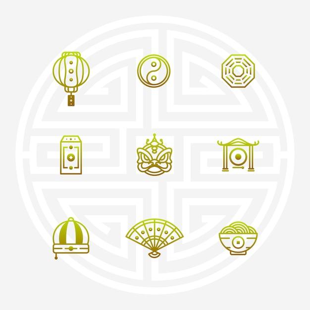 中国のシンボル Premiumベクター