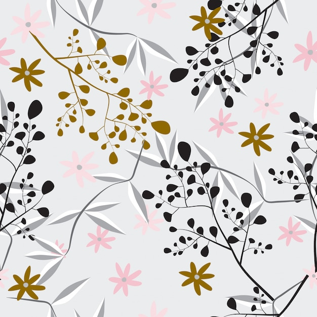 抽象的なシームレスな花柄の女性らしいデザイン Premiumベクター