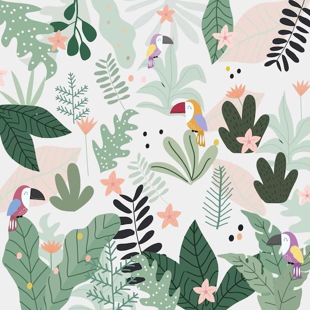 Симпатичные тукан птица в тропическом лесу мультфильма. Premium векторы