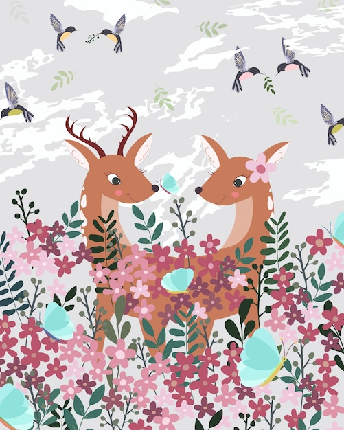 Пара оленей в розовом цветочном саду. Premium векторы
