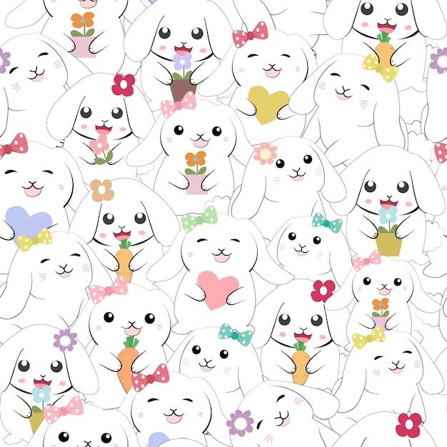 かわいい赤ちゃん女の子ウサギうさぎシームレスパターン。 Premiumベクター