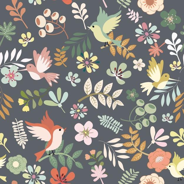 かわいい鳥と葉のレトロなスタイルのシームレスパターンを持つ花。 Premiumベクター