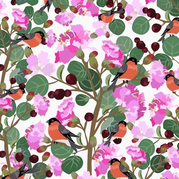 かわいい鳥と緑の葉のパターンを持つ甘い花。 Premiumベクター