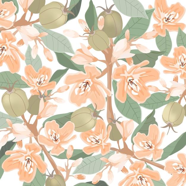 明るいオレンジ色の花と緑の葉のパターン。 Premiumベクター