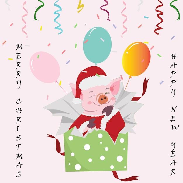 Симпатичные свинья в подарочной коробке мультфильм на рождество. Premium векторы